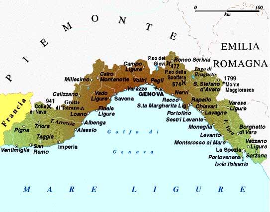 Cartina Turistica Liguria.A P T Liguria